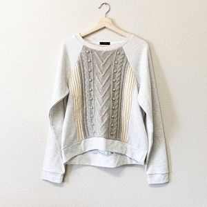 J.Crew Light Grey Cable Knit Contrast Sweatshirt